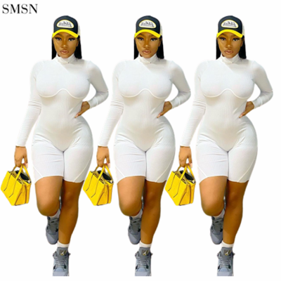FASHIONWINNIE 2021 New Arrivals Fall Women Clothing Long Sleeve White Backless Shorts Jumpsuit  For Women Sexy
