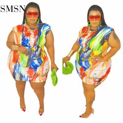 MOEN Hot Sale Sleeveless Sexy Color Print Plus Size Short Dress Woman Casual Dress