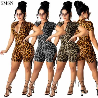 FASHIONWINNIE Wholesale Fall Women Clothes Zipper Straps Sexy Club Wear Leopard One Piece Tight Jumpsuit Short