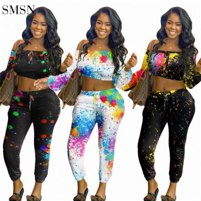 MOEN Amazon Colorful Printing Clothing Long Sleeve Strapless Long Sleeve Crop Top Print Trousers Womens Stylish 2 Piece Set