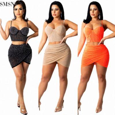 MOEN New Arrival 2021 Rhinestone Two Piece Set Sexy Sling Crop Sclothing Nightclub Club Two Piece Skirt Set