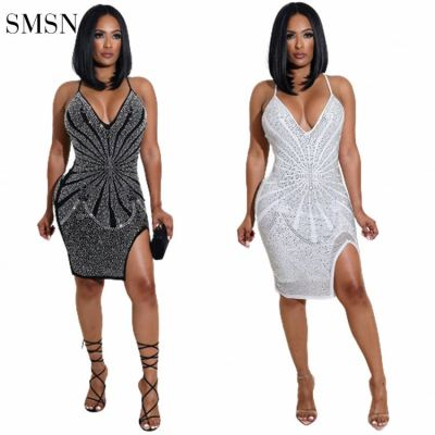 MOEN New Style Party Prom Dresses Sexy Sling Rhinestone Ornament Deep V Neck Party Prom Dresses Women Stylish Sexy Dress
