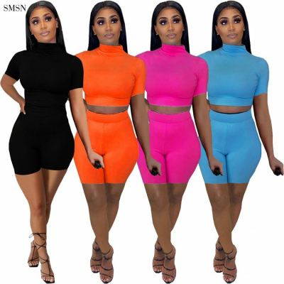 MOEN High Quality Two Piece Short Set Solid Color Short Sleeve Crop Top Sexy Bodycon Women Two Piece Set Shorts