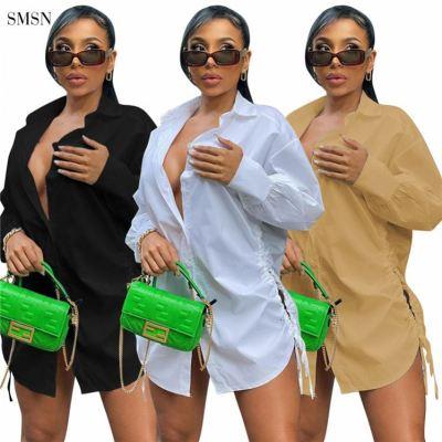 MOEN New Arrival Autumn Long Sleeve Solid Color Loose Blouse Short Dress Hollow Out Drawstring Women Shirt Dress
