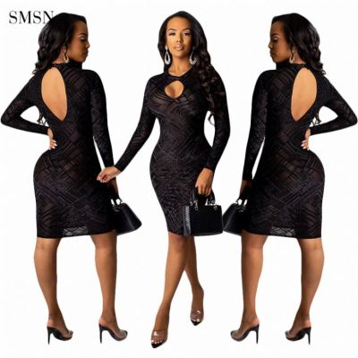 MOEN Best Design Solid Color Sexy Hollow Out Tulle Elegant Casual Dresses Autumn Long Sleeve Backless Bodycon Short Dress