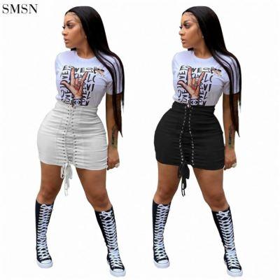 FASHIONWINNIE 2021 New Arrivals Club Wear Solid Tie Skirt Bandage Skirts Pencil Women Sexy Short Skirts