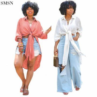FASHIONWINNIE 2021 Fall Woman Clothing Breathable Casual Long Swing Long Sleeve Bandage Shirt Tops For Women