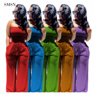 FASHIONWINNIE Fashion Clothes Wrapped Chest Sleeveless Bodycon Strapless Wide Leg Pleated Jumpsuit For Women