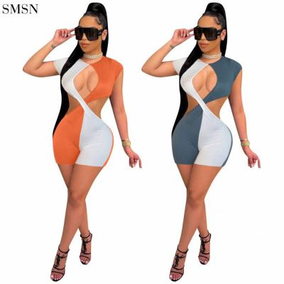 FASHIONWINNIE 2021 New Arrival Solid Color Short Sleeve One Piece Romper Short Patchwork Hollow Out Jumpsuit