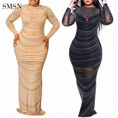 MOEN Lowest Price Evening Dresses Rhinestone Ornament Long Dress Match Sling Vest Women Plus Size Dress