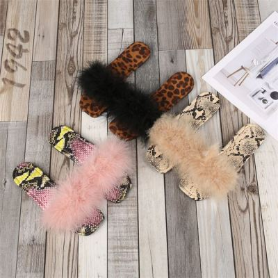 1071945 New arrival 2021 Animal Printed Fashion Square Toe Fluffy Slippers