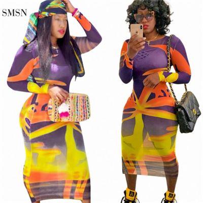 MOEN Best Seller Long Sleeve Dresse Translucent Printing Long Skirt Women Summer Dress