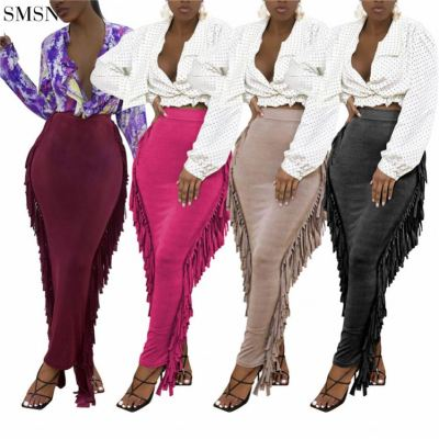 FASHIONWINNIE 2021 New Arrivals Club Wear Fringe Skirts Womens Plain Dyed Skirts Fall Tassel Tight Skirt Sexy Women
