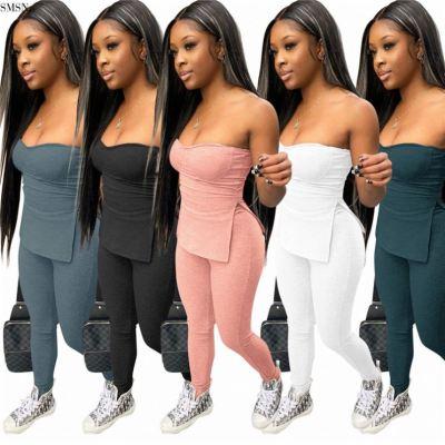MOEN Lowest Price Summer Set Solid Color Sleeveless Chest Wrap Split Top Women Bodycon Two Piece Pants Set