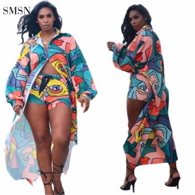 MOEN New Arrival Casual Long Sleeve Cloak Coat Shorts Print Womens Two Piece Set
