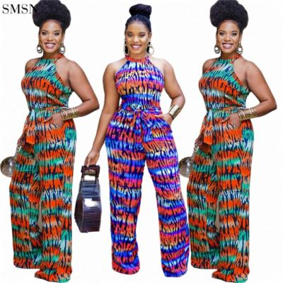 1072226 New Arrival 2021 Printing Wide Legged Jumpsuits For Women Sexy Backless Jumpsuit
