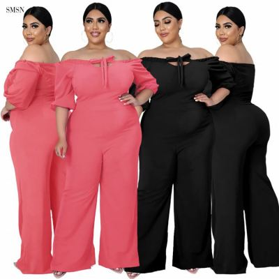 MOEN Newest Design Casual Solid Color Plus Size Jumpsuits Strapless Loose One Piece Jumpsuits