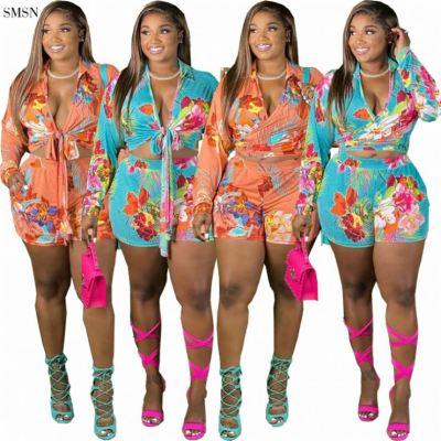 MOEN Fashion 2021 Womans Hawaiian Shirt Set Casual Long Sleeve Bandage Crop Top Flower Print Women Plus Size Shorts Set