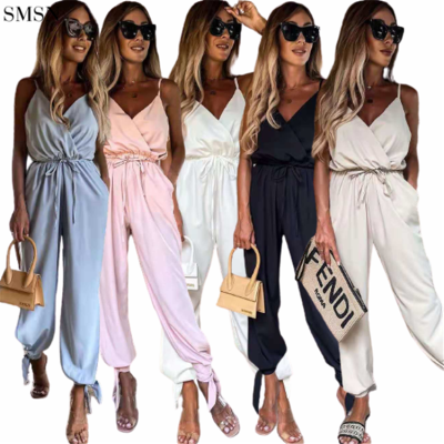 FASHIONWINNIE New Arrivals Women Casual Clothes With Suspenders Ches Fall Loose Sling Wide Leg Jumpsuit 2021