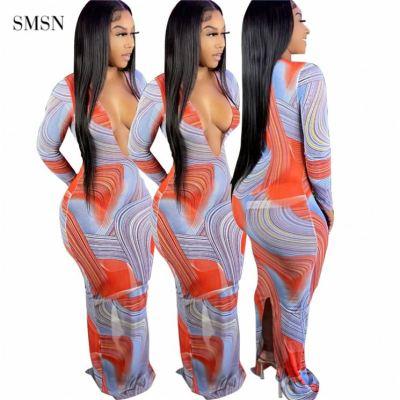 MOEN New Style Luxury Dress 2021 Long Sleeves Deep V Neck Bodycon Elegant Long Maxi Dress Women Casual Bodycon Dress