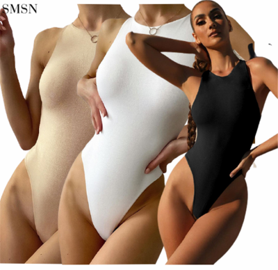 FASHIONWINNIE 2021 New Arrivals Plain Color O Neck Tight Top Sleeveless Backless Bodysuits For Women