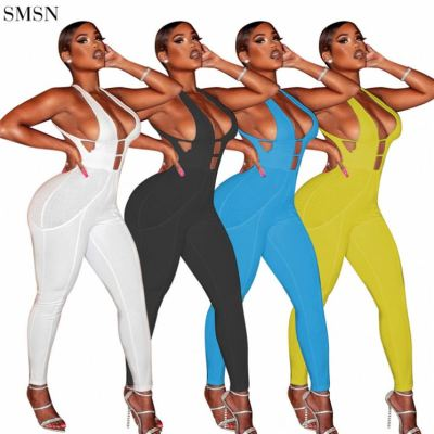 FASHIONWINNIE 2021 New Arrival Solid Sleeveless Off Shoulder Backless Sling Jumpsuit Hollow Women Sleeveless Belt Jumpsuit