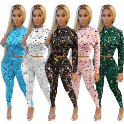MOEN Fashion 2021 Sports Set Women Long Sleeve Print Colored Spots 2 Piece Set Women Bodycon Casual Sports Two Piece Pants Set