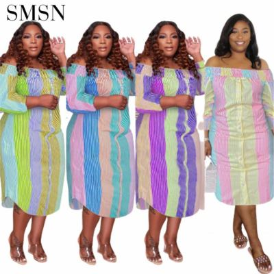 MOEN New Arrival White Dress Plus Size Printing Plus Size Sexy Long Dress Irregularity Color Stripe Women Casual Dresses