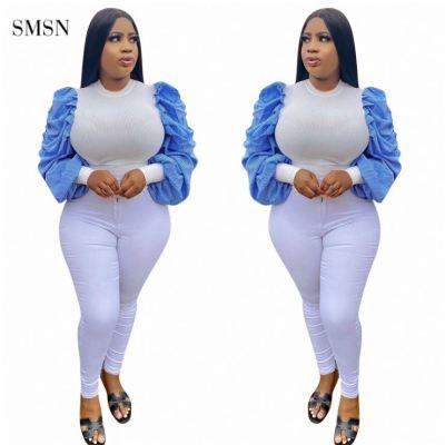 SMSN MOEN Trendy 2021 Autumn Casual Long Sleeve Tops For Women Patchwork Puff Sleeve O Neck Women T Shirt