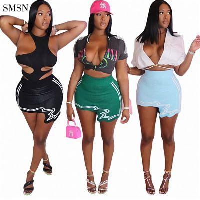 SMSN QUEENMOEN New Trendy Solid Color Stripe Hem Asymmetric Bodycon Casual Girls Streetwear Summer Short Mini Skirt For Women
