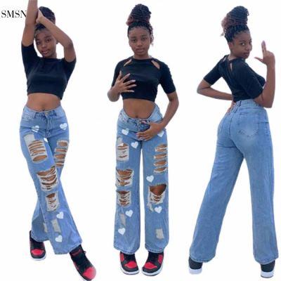 SMSN MOEN Hot Selling Heart-Shaped Print Street Broken Hole Plus Size Straight Trousers Women Denim Jeans