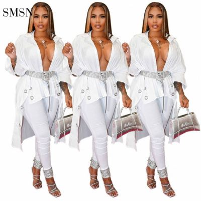 SMSN QUEENMOEN Trendy 2021 Solid Color White Short Front Long Back Holes Design Nightclub Sexy Deep Vneck Womens Blouses