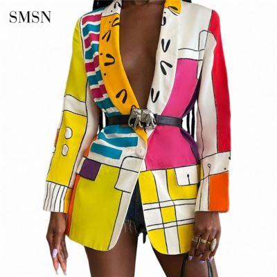 1073059 Best Design Autumn Winter Casual Fashion Coat For Women Multicolor Print Button Nightclub Jackets & Coats