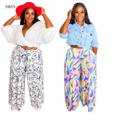 SMSN MOEN Latest Design Elastic Waist Casual Street Print Plus Size Loose Pants Womens Trousers & Pants