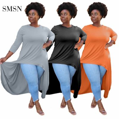 1073065 Hot Selling Autumn Casual Solid Color T Shirt Three Quarter Sleeve Plus Size Women Lengthen Top