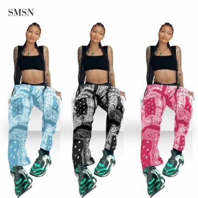 1073057 Good Quality Autumn Floral Cashew Nut Print Loose Pants Include Waistband Womens Trousers & Pants