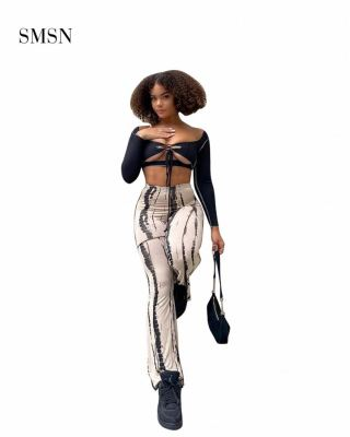 SMSN MOEN High Quality Winter Fashionable Tie Dye Street Mid Waist Casual Pants Nightclub Womens Pants Trousers