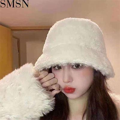 MISS Best Seller Bucket Hats Lovely Warm Letter Decoration Casual Plush Hats Women