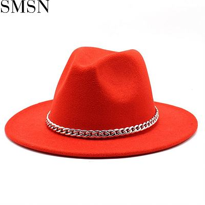 1072689 New Arrival Designer Hats British Style Contrast Color Wide Brim Fedora Hat