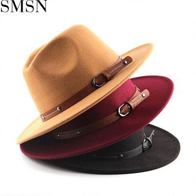 MISS New Style 2021 Contrast Color Woolen Unisex Fedora Hat Designer Hats