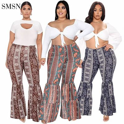 High Quality 2021 Autumn Woman Plus Size Pants Ruffles Patchwork Style Print Casual Flared Trousers Ladies Pants