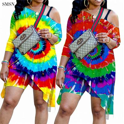 QueenMoen High Quality Autumn Casual Slopping Shoulder Tie Dye Long Sleeve Long T Shirt Ladies Plus Size Women Sets Two Piece