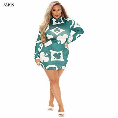 SMSN QueenMoen Wholesale Long Sleeve High Neck Women Ladies Autumn Short Dress Printed Casual Fat Plus Size Pattern Mini Dress