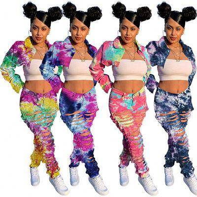 AOMEI Fashion Tie Dye  Printing Jean Fabric Two Piece Set 2021 Lounge Wear Women Casual Fall Two Piece Sets For Women