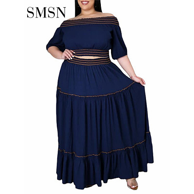 QueenMoen New Trendy Autumn Fashion Plus Size Set Casual Off Shoulder Webbing Edge Crop Top Spliced Skirt Two Piece Skirt Set