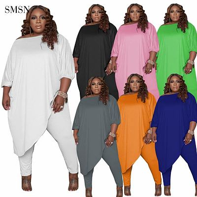 QueenMoen New Trendy Autumn Women Plus Size Set Casual Solid Color Irregular Top Design Home Wear Fat Women Two Piece Pants Set