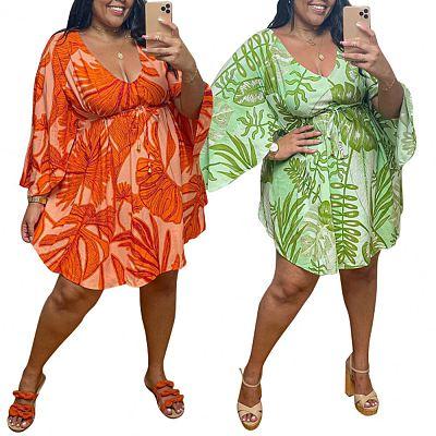 QueenMoen Latest Design V-Neck High Waist Casual Loose Plus Size Dress A-Line Print Bell Sleeve Casual Short Dresses Women