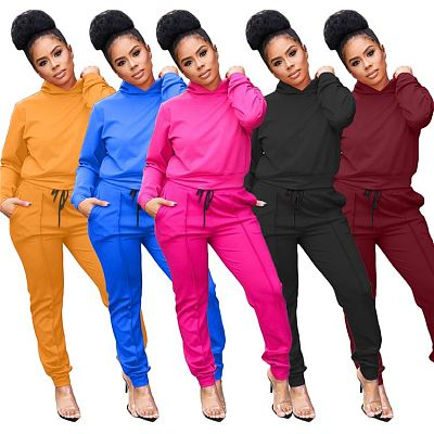 AOMEI Wholesale 2021 Fall Solid Color Casual 2 Piece Set Hoodie Loose Two Piece Set