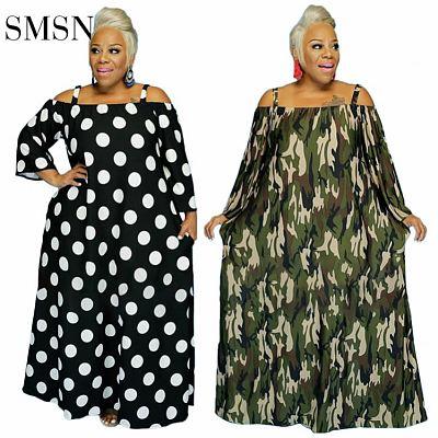 QueenMoen Good Quality Fashion Suspender Off Shoulder Maxi Dress Dot Print Loose Woman Casual Maxi Plus Size Women'S Dresses