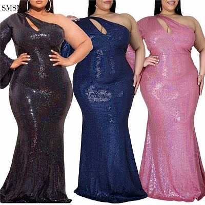 SMSN QueenMoen Hot Selling Cut Out One Shoulder Wide Sleeve Ladies Elegant Evening Party Plus Size Women Long Maxi Sequin Dress